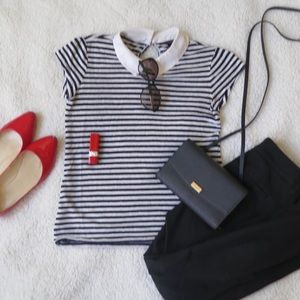 Ann Taylor Tops - Ann Taylor Black and White Striped Collared Shirt